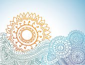 Detailed henna abstract sunrise. poster