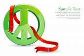 illustration of ribbon around peace sign on white background poster