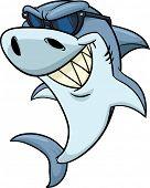 Cool cartoon shark wearing shades. Vector illustration. poster