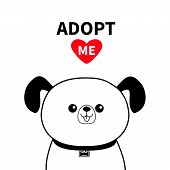 Cute dog face line silhouette. Adopt me. Red heart. Pet adoption. Kawaii animal. Cute cartoon puppy character. Funny baby pooch. Help homeless animal Flat design. White background Vector illustration poster