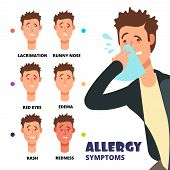 Allergy symptoms vector illustration - cartoon medical infographic. Allergic rash skin, edema and redness, sneeze and runny nose poster