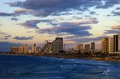 View of the Tel Aviv, Israel. Twilight. Cloudy Sky. poster