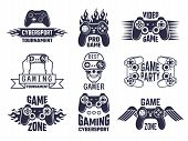 Gaming logo set. Video games and cyber sport labels. Gamer emblem logo, sport cyber, video gaming, vector illustration poster