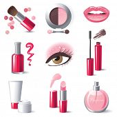Glamorous make-up icons set - vector. poster