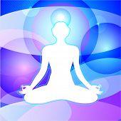 Transcendental Meditation. Meditating yogi in infinite space. Enlightenment. Vector poster