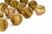a background of vintage antique old baseballs on a white background with copy space poster