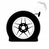 A flat tire or a punctured tire. Logo or emblem for tire fitting, shop or website. poster