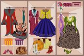 Wardrobe with vintage clothing poster