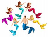Isometry set of mermaids in different poses for use in graphic games, beautiful girls, seductresses. poster