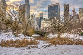 Gapstow Bridge Is One Of The Icons Of Central Park, Manhattan In New York City After Snow Storm
