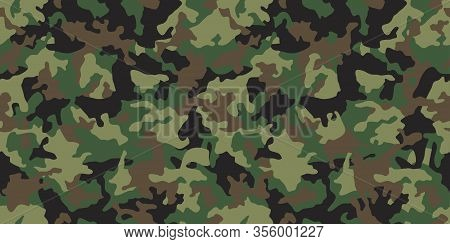 Green Seamless Camouflage Pattern Background. Army Clothing Style. Forest Masking Military Camo. Vec