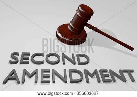 3d Illustration Of Second Amendment Title Under A Juge Gavel