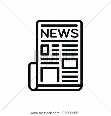 Black Line Icon For Newspaper Tabloid Periodical Magazine Paper Journal Mag News Document Text