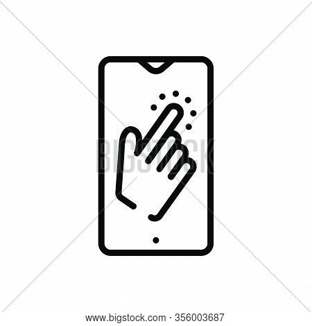 Black Line Icon For Once Tap Gesture Touch Once-time A-single-time Indicate Index Mobile