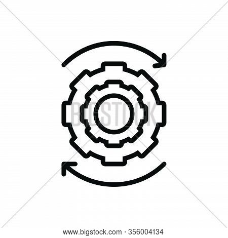 Black Line Icon For Ongoing Proceeding Continuing In-progress Under-way Cogwheel Machinery Efficienc