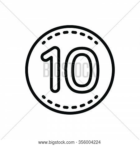 Black Line Icon For Ten Number Label Decade Decennary Dicker Badge Hour