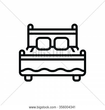 Black Line Icon For Bed Bedstead Bunk Cot Doss Duvet Bedroom Furniture Pillow Relaxation Rest Mattre