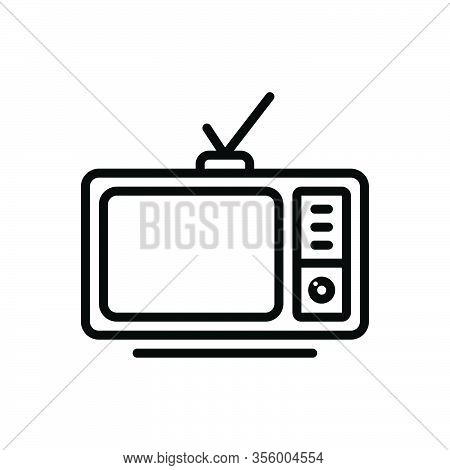 Black Line Icon For Television Vintage Broadcast Broadcasting The-small-screen Electronic Antenna Di