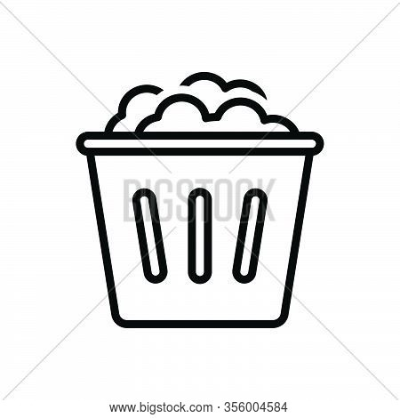 Black Line Icon For Used Dump Household Garbage Bin Dustbin Trash-cans Rubbish Basket Wastebasket De
