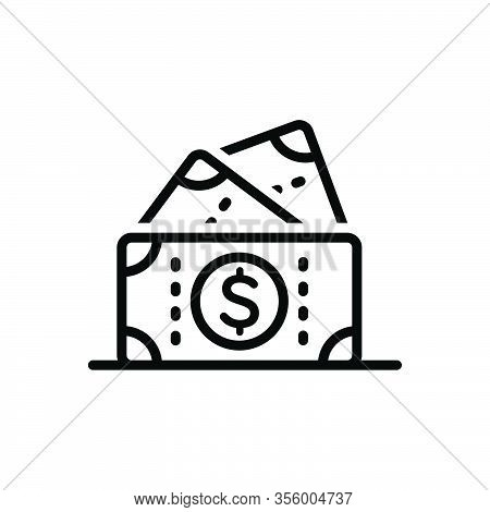 Black Line Icon For Cash Currency Wealth Penny Moolah Piles Mammon Money Dollar