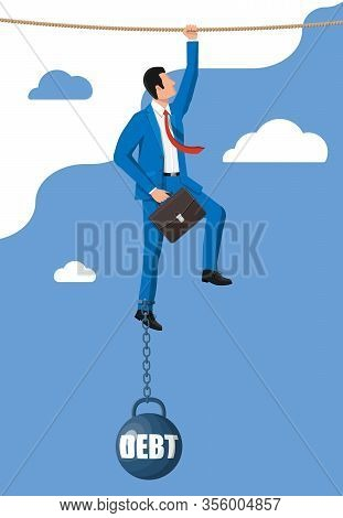 Businessman On Rope Chained To Big Heavy Debt Weight With Shackles. Character Tied By Chain To Large