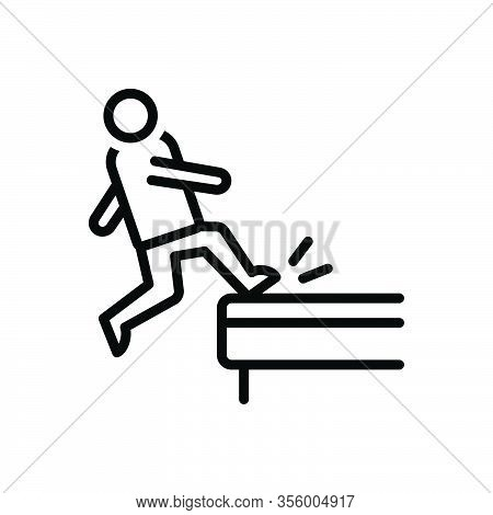 Black Line Icon For Incident Occurrence Phenomena Slippery Slip Hazard Careful Danger Caution Downfa