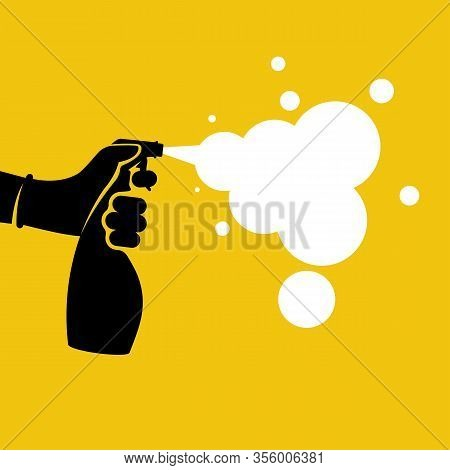Black Icon Antiseptic Spray With White Foam. Pictogram Hands In Gloves Hold Bottle. Antibacterial Fl