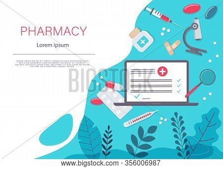 Medicine Vector Illustration. Pharmacy Background, Pharmacy Desing, Pharmacy Templates. Medicine, Ph
