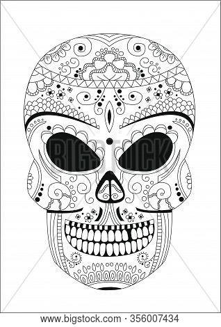 Human Skull Style Zentangle On White Background