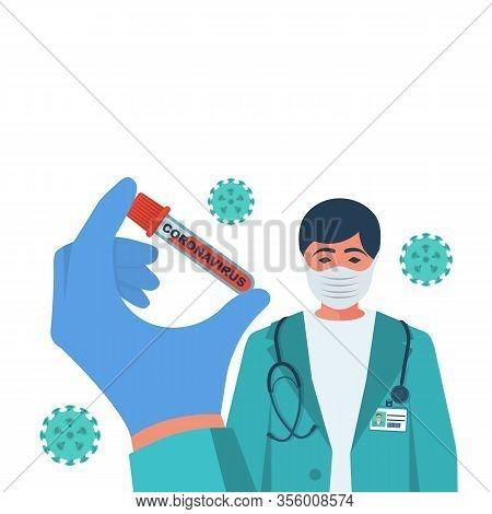 Coronavirus 2019-ncov Blood Sample. Epidemic Virus Respiratory Syndrome. Wuhan China. Doctor Wearing