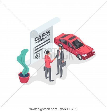 Car Insurance Form. Businessmen Sign An Insurance Form. Shaking Hands On A Deal. Legal Document Auto