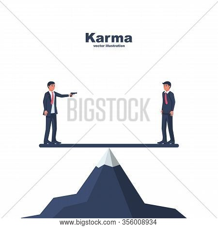 Karma Concept. Two Men On A Mountain Balancing On One Board. The Gun In The Hand. Ready To Shoot And