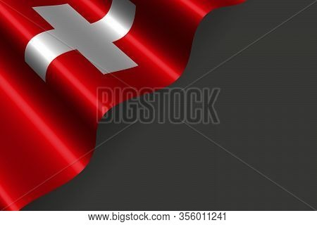 Flag Of Switzerland Isolated On Grey, Vector Illustration In Colors Of The Flag Red, White For Labor