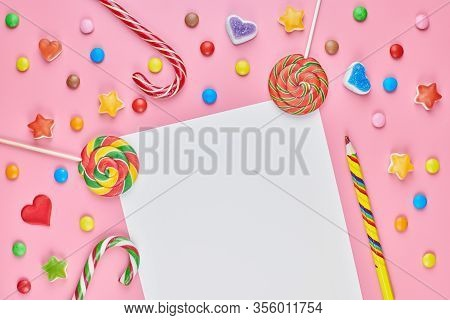 Blank Page In Sweet Candy And Sweetmeats. Sweet Dreams List Concept. Making A Shopping List For Chil