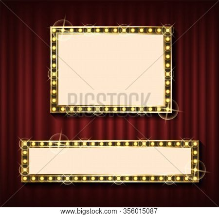 Niht Show Banner Template, Theater Curtain Backdrop And Blank Frame With Lamps Vector. Rectangular F