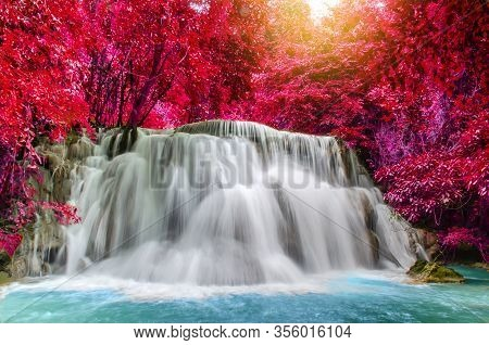 Travel To The Beautiful Waterfall In Tropical Rain Forest, Soft Water Of The Stream In The Natural P