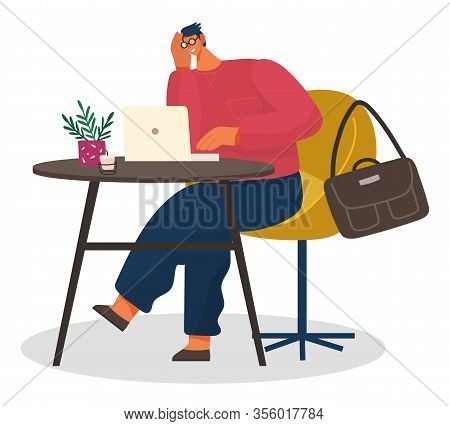 Human Character Sitting With Bag At Table With Laptop In Coffeehouse. Freelancer Person Communicatin