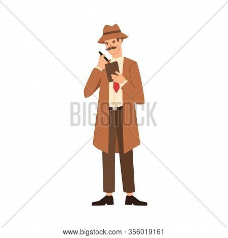 Cartoon Professional Man Detective With Mustache Making Notes Vector Flat Illustration. Secret Man A