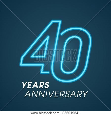 40 Years Anniversary Vector Logo, Icon. Graphic Design Element With Neon Numbery