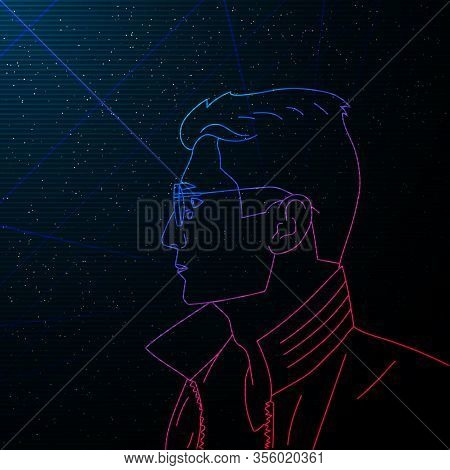 Synthwave Vaporwave Retrowave Contour Portrait Of Man. Vector Side View Man With Glasses On Starry S