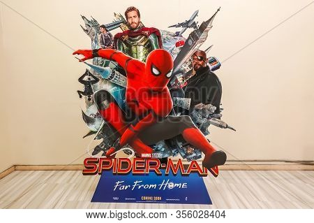 Bangkok, Thailand, 11 July 2019 - A Beautiful Standee Of A Movie Called Spider-man: Far From Home Di