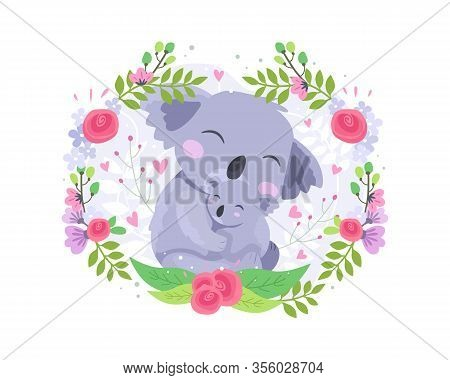 Vector Illustration Cute Koala Mother And Baby. Animal Koala Baby Lovely Hug Mother. Happy Mothers D