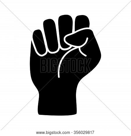 Raised Black Fist Vecor Icon. Victory, Rebel Symbol In Protest Or Riot Gesture Symbol. Simple Flat B