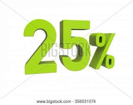 3d Render: ISOLATED 25% Percent Discount 3d Sign on White Background, Special Offer 25% Discount Tag, Sale Up to 25 Percent Off,  Twenty-five Percent Letters Sale Symbol, Special Offer Label