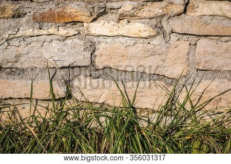 Big Stone Wall And Green Grass In The Garden