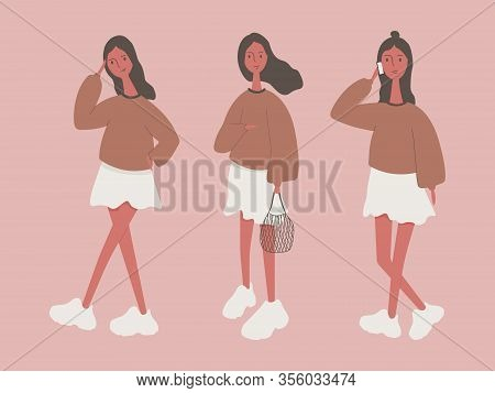 Modern Girl, Character With Different Poses. A Girl On The Phone, A Girl With A String Bag, A Puzzle