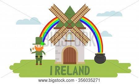 Irishman Leprechaun, Windmill, Pot Of Gold. Flag Of Ireland.