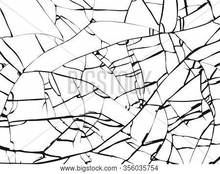 Surface Of Broken Glass Texture. Sketch Shattered Or Crushed Glass Effect. Vector Illustration Isola