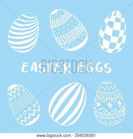 Hand Drawn Easter Eggs Set In Doodle Style. Egg Hunt Icons. Simple Design For Spring Holliday. Vecto