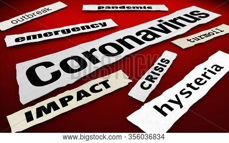 Coronavirus News Headlines Update COVID-19 Outbreak Pandemic 3d Illustration